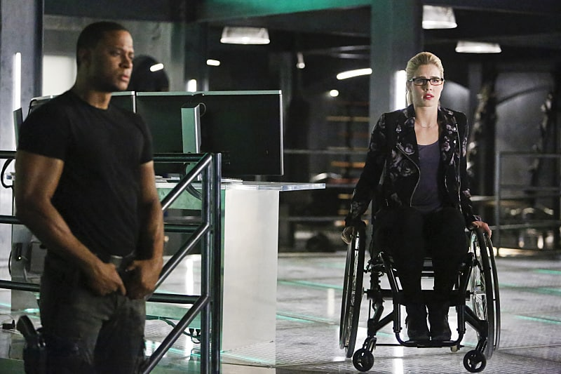 """Arrow -- """"Taken"""" -- Image AR415b_0114b.jpg -- Pictured (L-R): David Ramsey as John Diggle and Emily Bett Rickards as Felicity Smoak -- Photo: Bettina Strauss/ The CW -- © 2016 The CW Network, LLC. All Rights Reserved."""