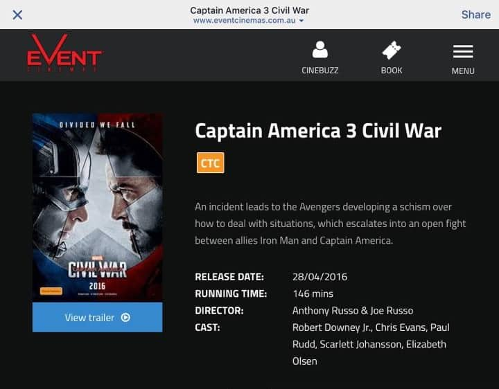 Captain America Civil War Runtime