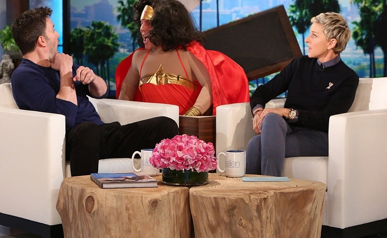 ben affleck wonder woman the ellen show banner