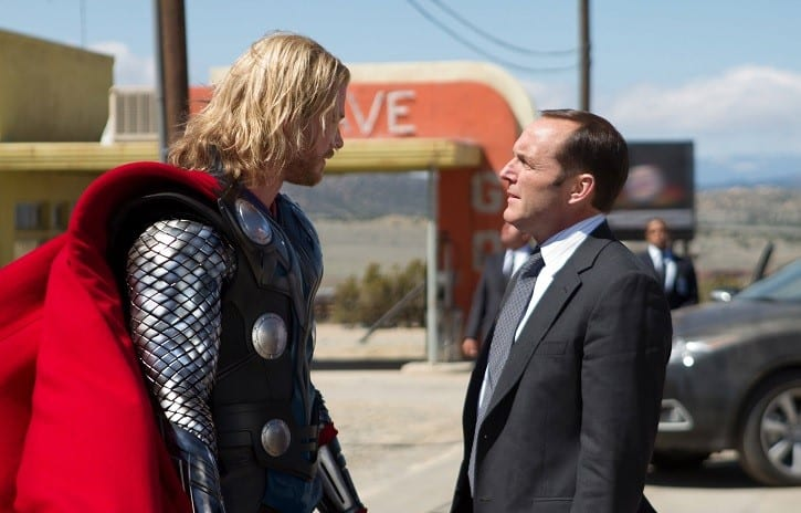 Photo credit: Zade Rosenthal / Marvel StudiosLeft to right: Thor (Chris Hemsworth) and Agent Coulson (Clark Gregg) in THOR, from Paramount Pictures and Marvel Entertainment.© 2011 MVLFFLLC. TM & © 2011 Marvel. All Rights Reserved.