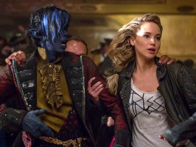 Jennifer Lawrence as Mystique and Kodi Smit-McPhee as Kurt Wagner/Nightcrawler