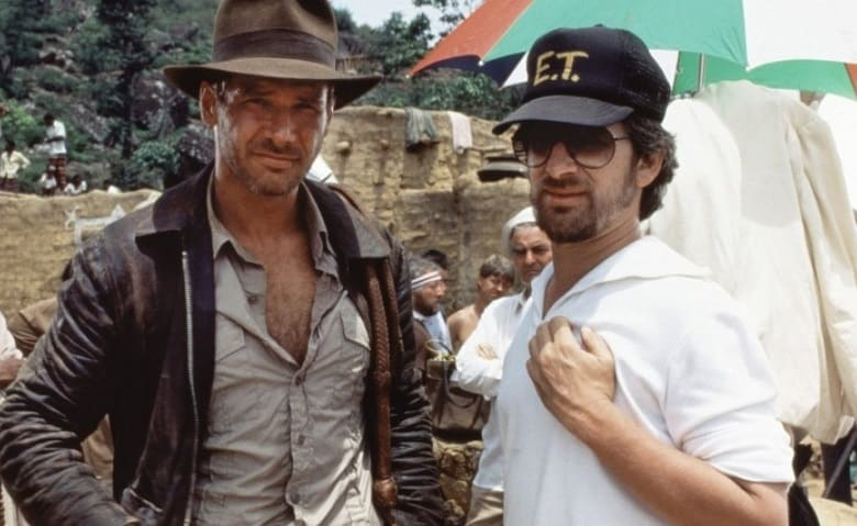 Steven Spielberg and Harrison Ford banner