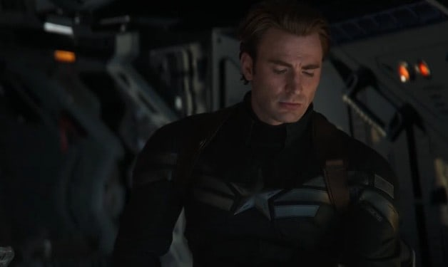 A still of captain America in Endgame Trailer