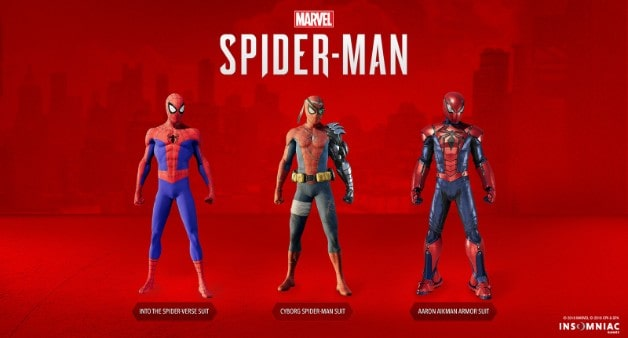 Spider Man suits Into the Spider-Verse, Cyborg Spider-Man and Aaron Aikman armor suit