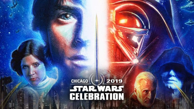 Star Wars 2019 Celebration Poster Luke Skywalker Darth Vader Princess Leia Emperor