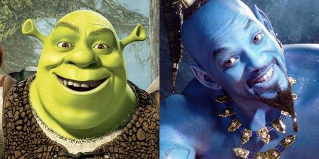 Aladdin Will Smith Shrek Blue Genie