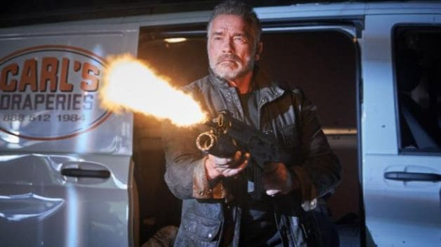 Arnold Schwarzenegger and Linda Hamilton in Terminator