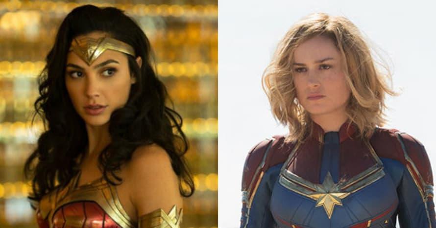 Captain Marvel Wonder Woman Elizabeth Banks Gal Gadot Brie Larson