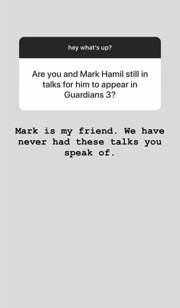 James Gunn Mark Hamill Guardians of the Galaxy Instagram