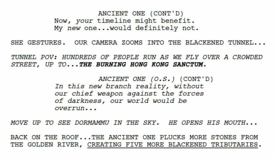 Doctor Strange Avengers Endgame Dormammu Script Cut