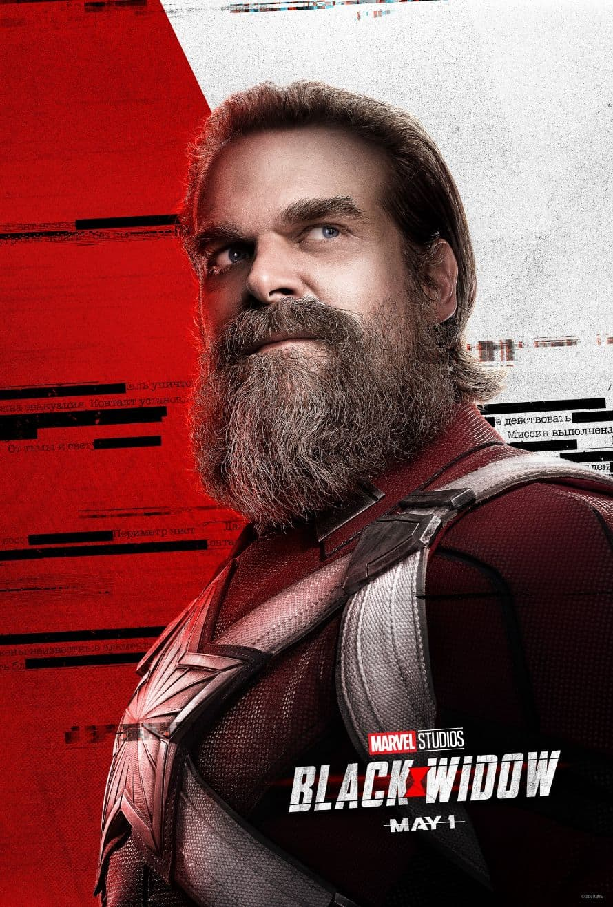 Scarlett Johansson Black Widow David Harbour Poster